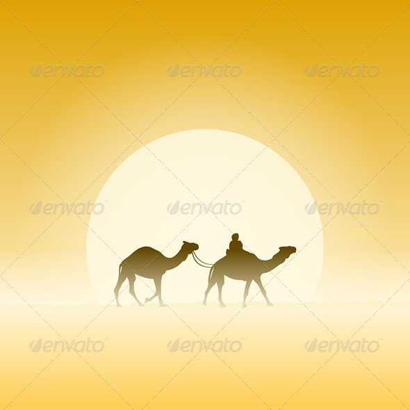GraphicRiver Two Camels and Sun 4011839