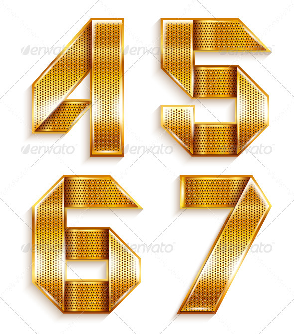 GraphicRiver Numerals folded from a metallic golden ribbon 4011841