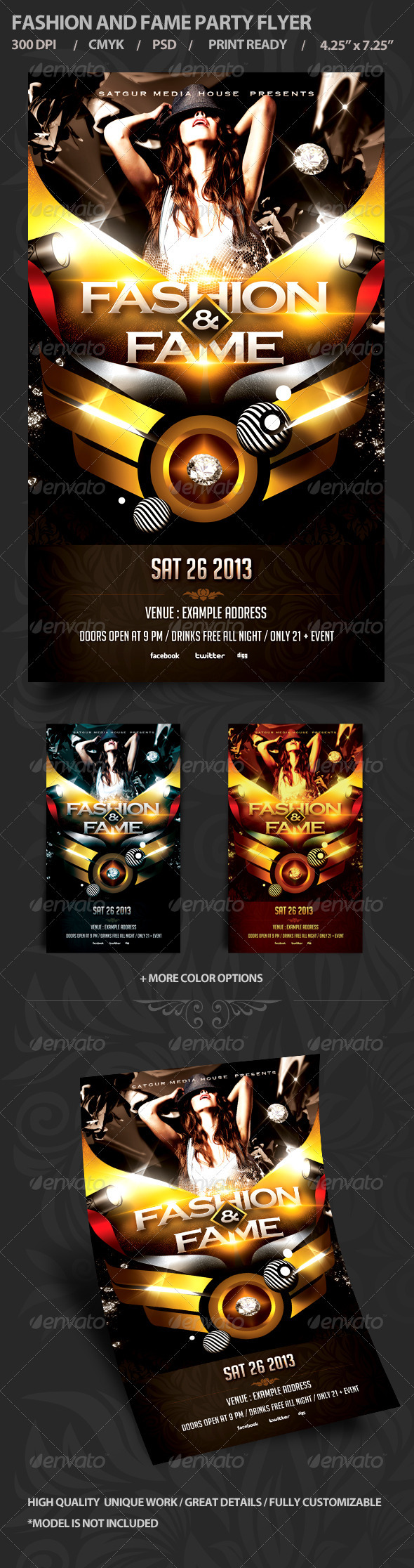 GraphicRiver Fashion and Fame Party Flyer 4012601