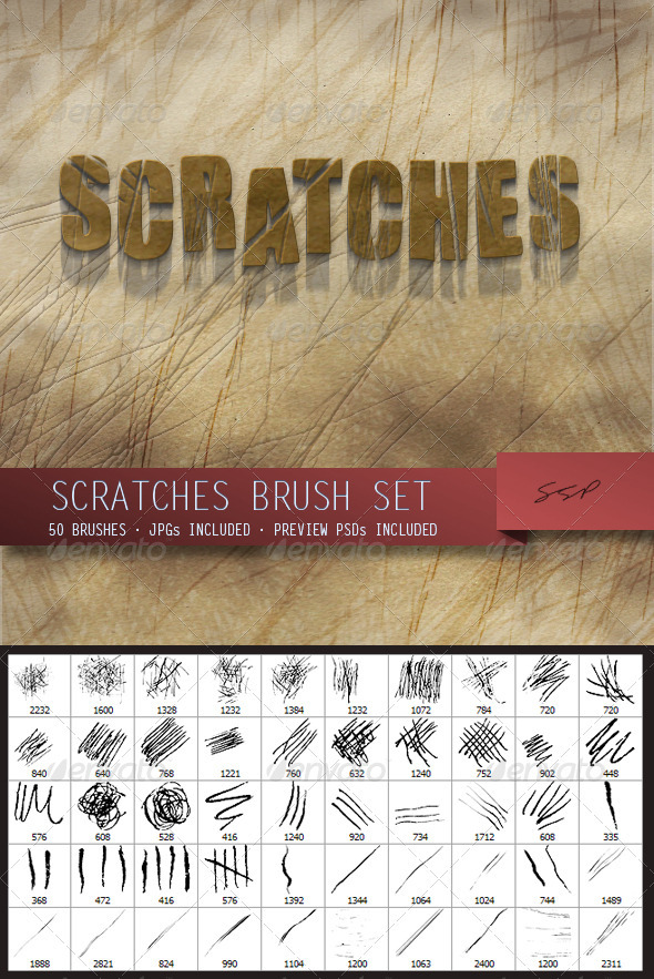 GraphicRiver 50 Scratches Brush Set 4013580