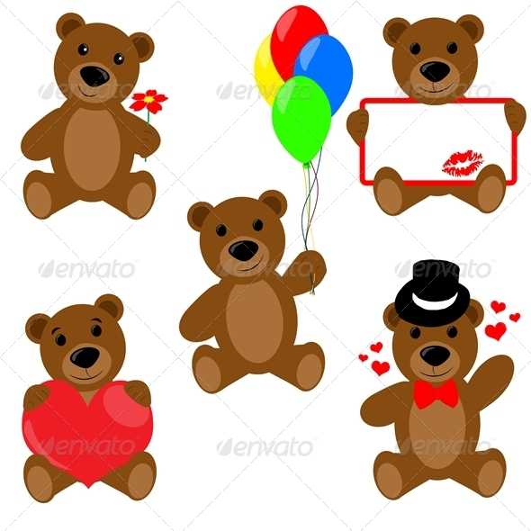 Set of Valentine teddy bears