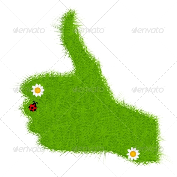 GraphicRiver Hand grass green signal on white vector illustrat 4013817