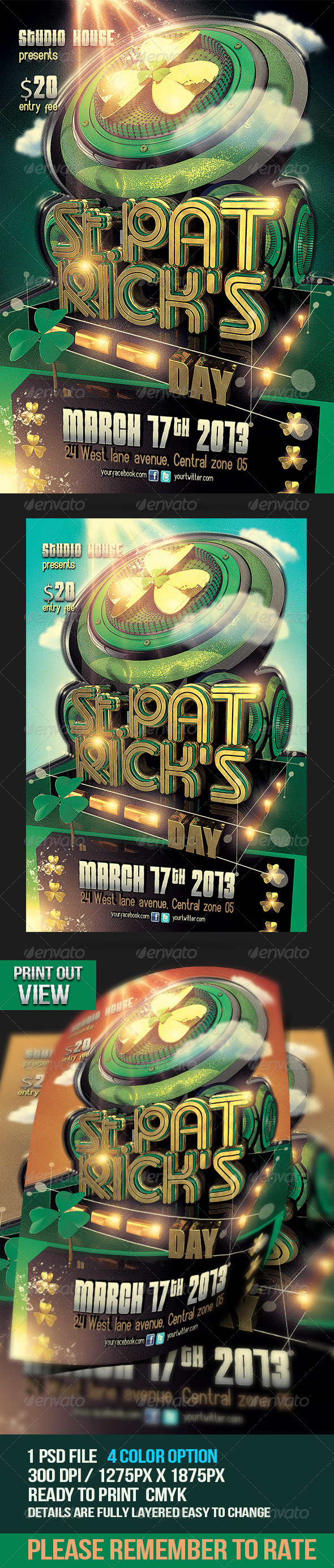 GraphicRiver St Patricks Day Party Flyer 4014012