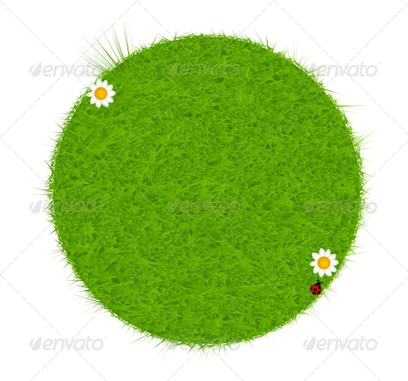 GraphicRiver Green eco friendly label from green grass Vector 4014144