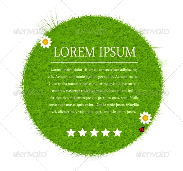 GraphicRiver Green eco friendly label from green grass Vector 4014180