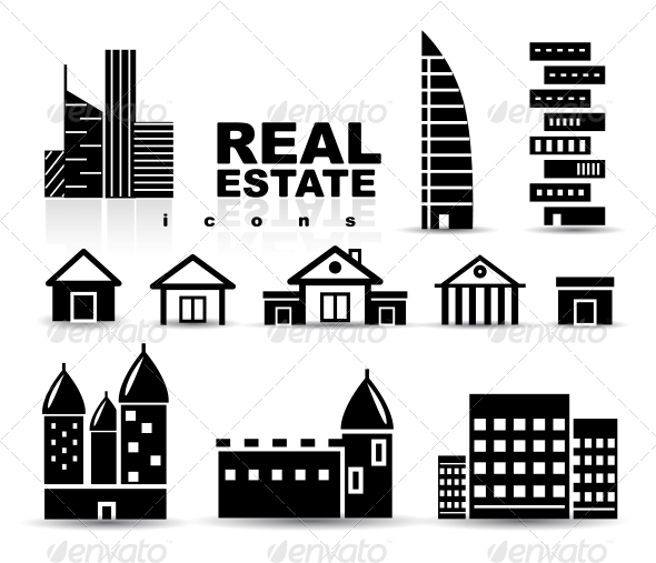 GraphicRiver Black Real Estate Houses Buildings Icon Set 4014818