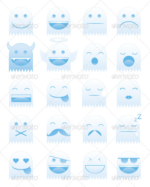 GraphicRiver Emoticon Ghosts 4014851