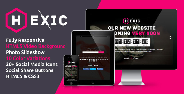 ThemeForest Hexic Fully Responsive HTML5 Coming Soon Page 4015262