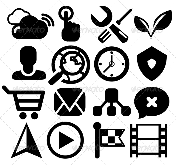 Modern Black Web Icon Set - Web Elements Vectors