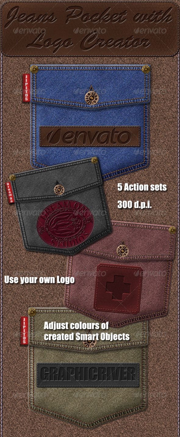 Jeans Pocket with Logo Creator - Photoshop Add-ons
