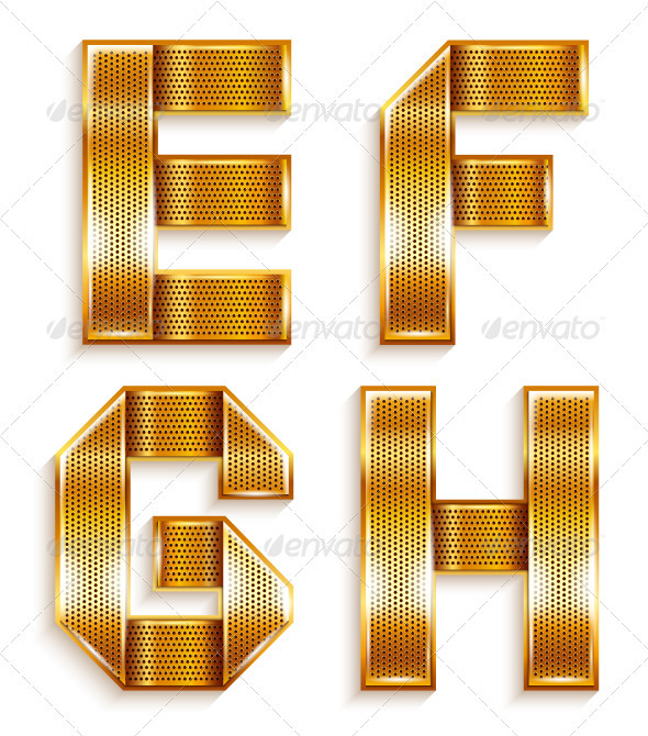 GraphicRiver Roman Alphabet Folded From A Metallic Gold Ribbon 4016091
