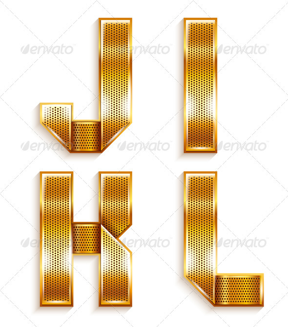 GraphicRiver Roman Alphabet Folded From A Metallic Gold Ribbon 4016118