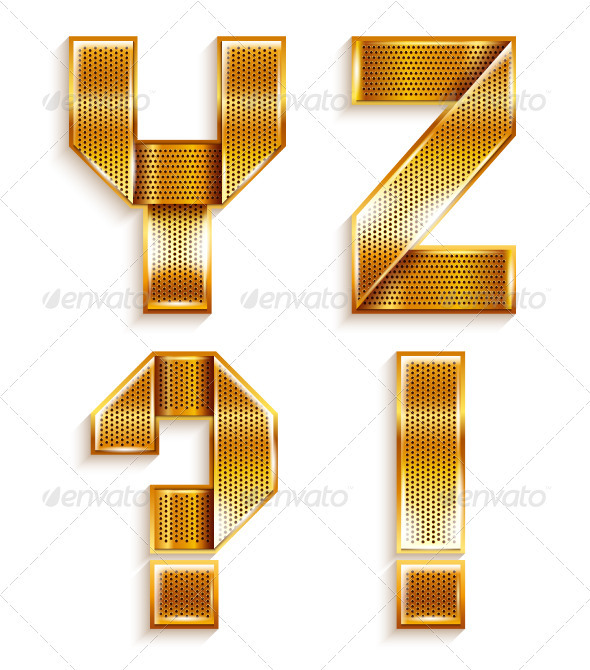 GraphicRiver Roman Alphabet Folded From A Metallic Gold Ribbon 4016184