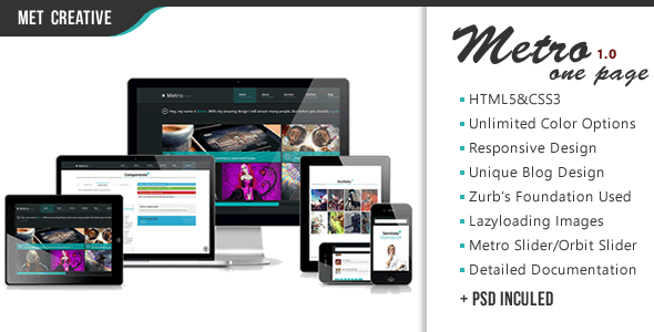 Metro One Page | Responsive, Select Your Color