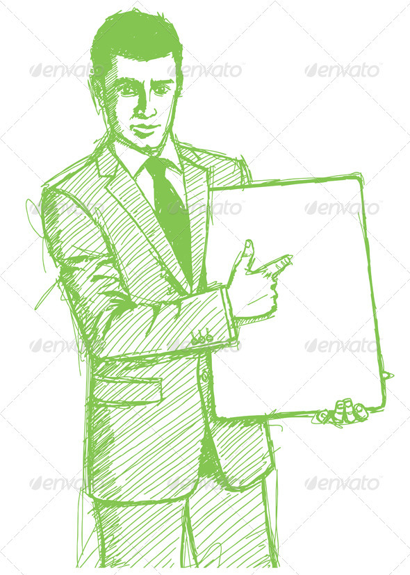 GraphicRiver Sketch Businessman with Empty White Board 4017331