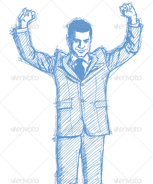 GraphicRiver Sketch Businessman with Hands Up 4017335