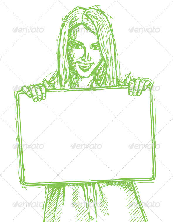 GraphicRiver Sketch Happy Business Woman Holding Blank Card 4017344