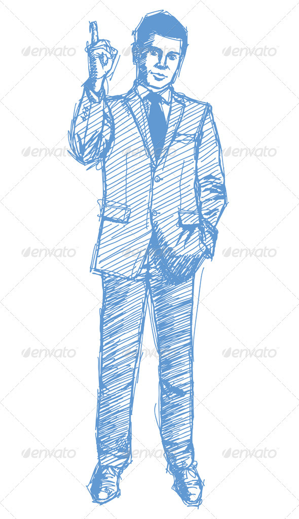GraphicRiver Sketch Male in Suit 4017345