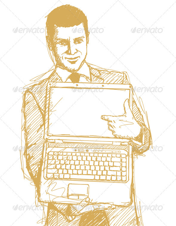 GraphicRiver Sketch Businessman With Open Laptop In His Hands 4017346