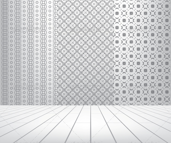 GraphicRiver White Room with Set Seamless and Wooden Floor 4017391