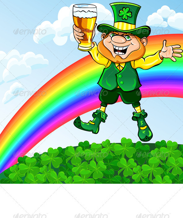 Vector Leprechaun with a Glass of Beer - Seasons/Holidays Conceptual