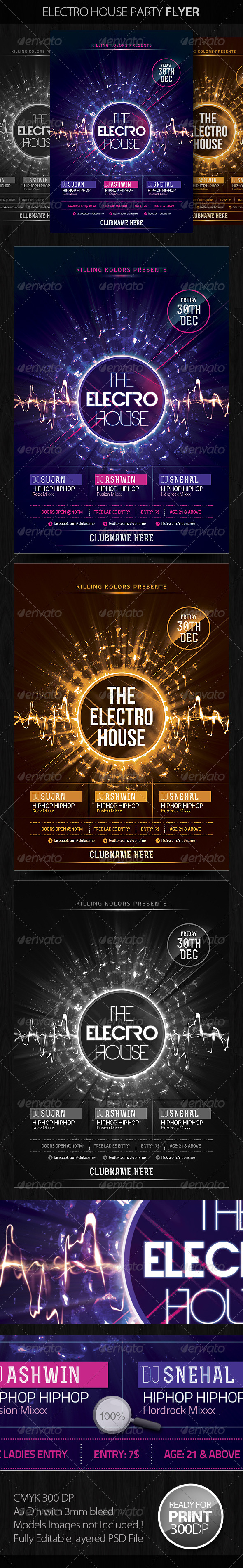 GraphicRiver Electro House Party Flyer 4017853