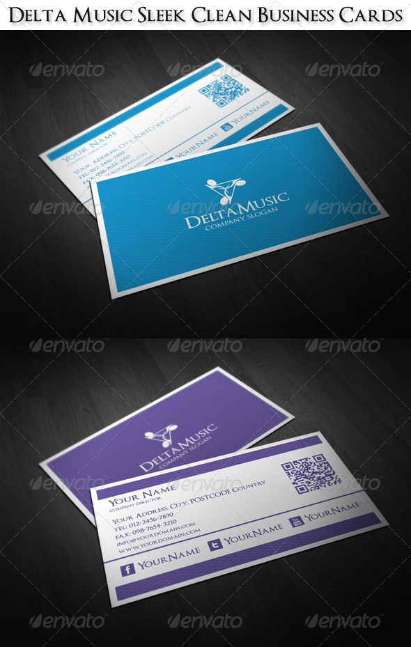 Delta Music Sleek Clean Business Cards - Corporate Business Cards