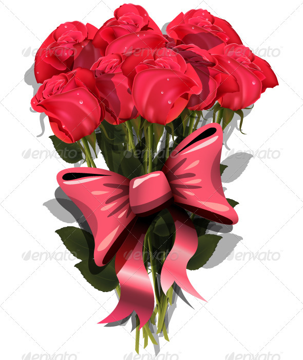 GraphicRiver Bouquet of Roses with a Bow 4018796