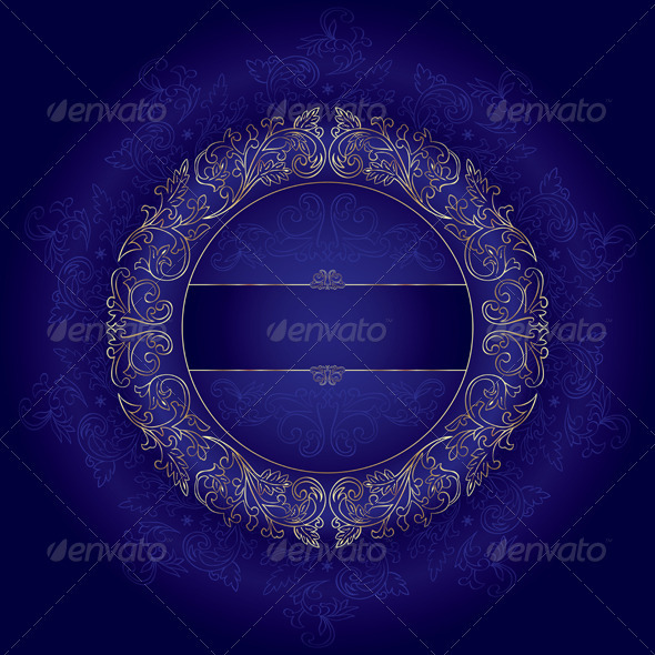 GraphicRiver Violet gold floral vintage vector background 4019049