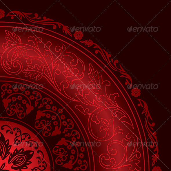 GraphicRiver Decorative Red Frame with Vintage Round Patterns 4019149