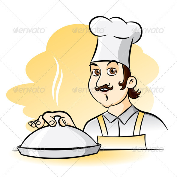 Cartoon Cook with a Tray