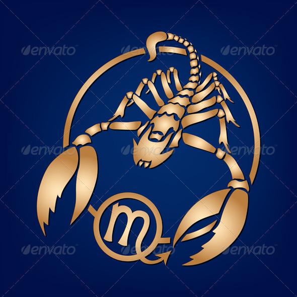 GraphicRiver Scorpio Zodiac Sign on a Dark Blue Background 4019645