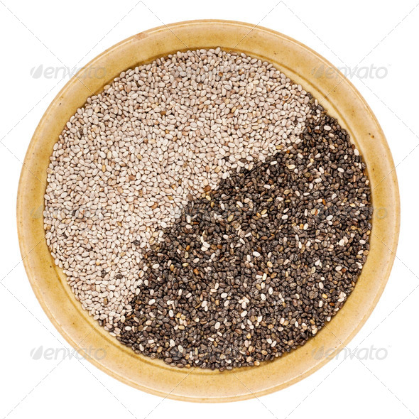 black and white chia seeds - Stock Photo - Images