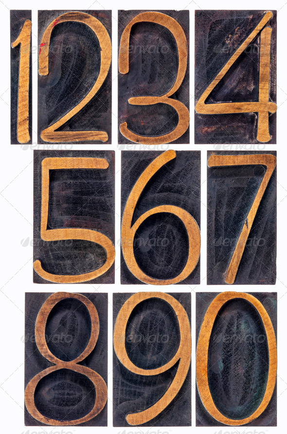 wood type numbers isolated - Stock Photo - Images