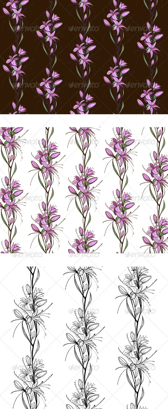 GraphicRiver Lily Flowers Seamless Pattern 4020035
