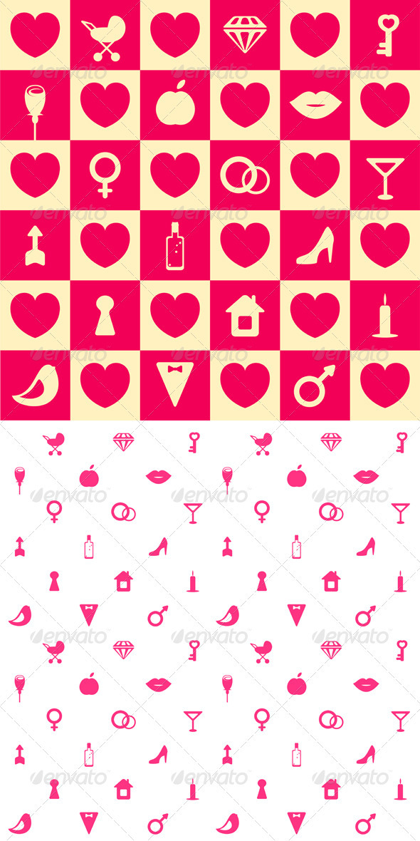 GraphicRiver Love Symbols Seamless Pattern Background 4020040