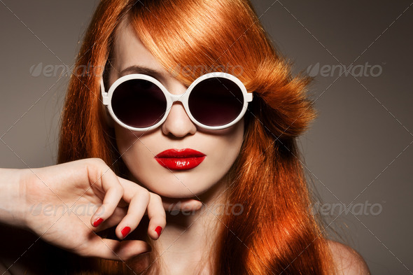 Beautiful Woman With Bright Make-Up And Sunglasses - Stock Photo - Images