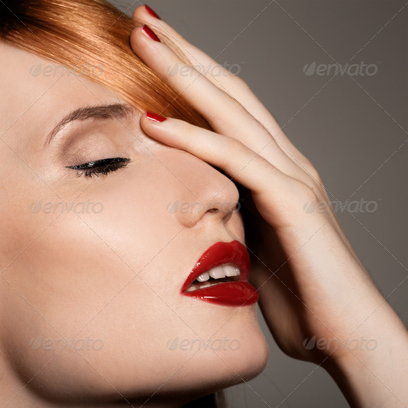 Fashion Studio Shot Of Beautiful Young Woman With Make-Up. Close-Up Portrait. - Stock Photo - Images