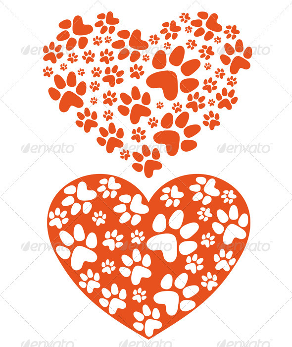 GraphicRiver Animal Paws Heart Vector 4020600