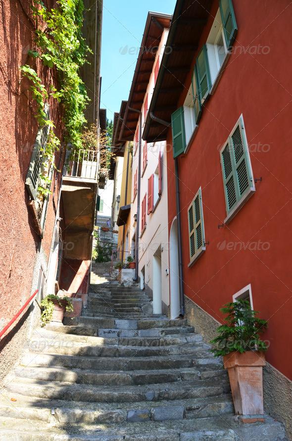 PhotoDune Narrow street of Varenna town at the lake Como Italy 4021127