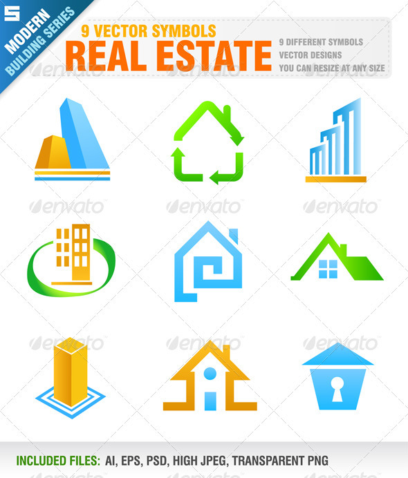 GraphicRiver 9 Real Estate Symbols 4021588