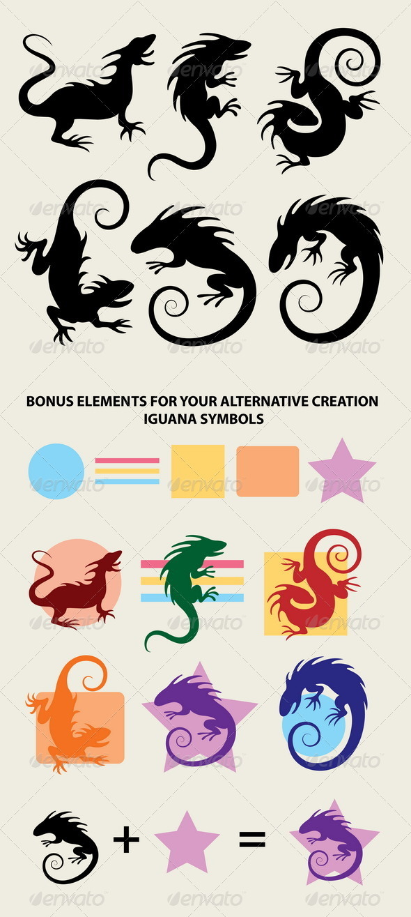 Iguana Silhouette Symbols - Animals Characters