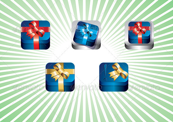 GraphicRiver Gift box App icon set 4021659