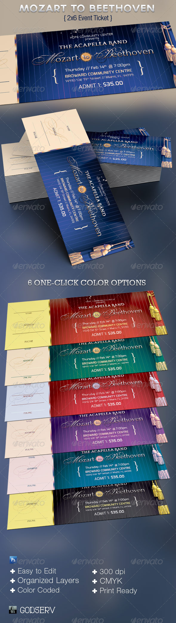 mozart to beethoven event ticket template graphicriver. Black Bedroom Furniture Sets. Home Design Ideas