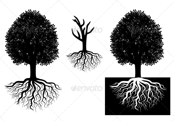 GraphicRiver Isolated tree with roots 4021827