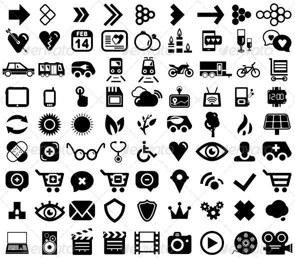 GraphicRiver Big set of black universal web icons 4021923