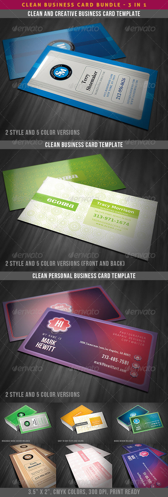 GraphicRiver Clean & Creative Business Cards Bundle 4022783