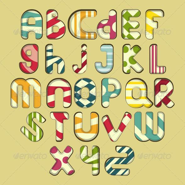 GraphicRiver Multicolored Striped Alphabet 4022870