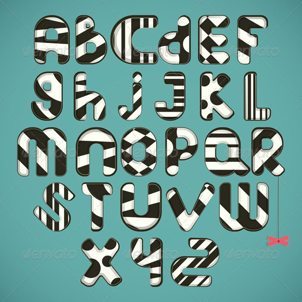 GraphicRiver black-white striped alphabet 4022877