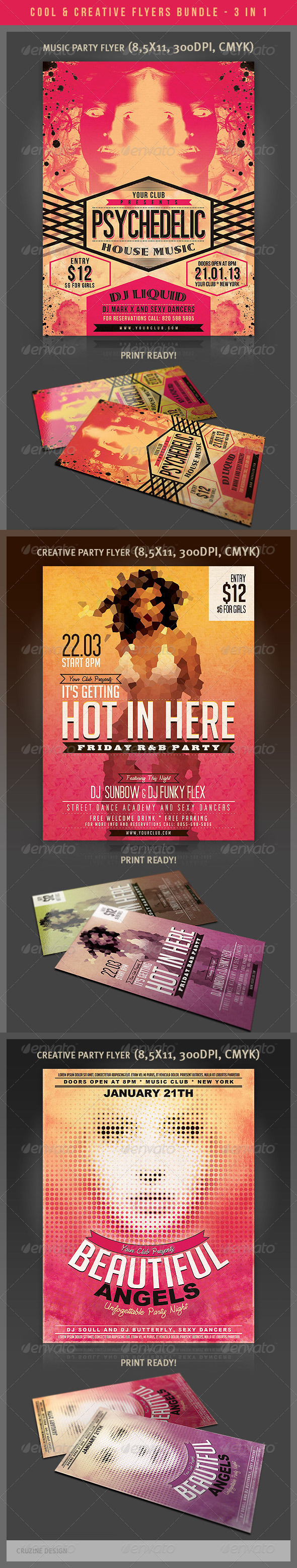 GraphicRiver Cool & Creative Party Flyers Bundle 4023049
